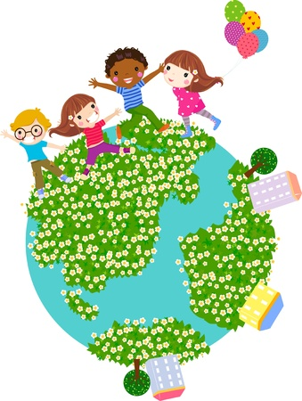 jumping kids: four children and globe