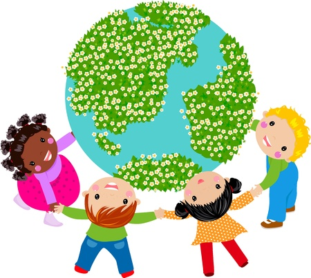 animals together: kids and glboe