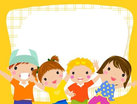çocuklar: çocuklar ve çerçeve Çizim