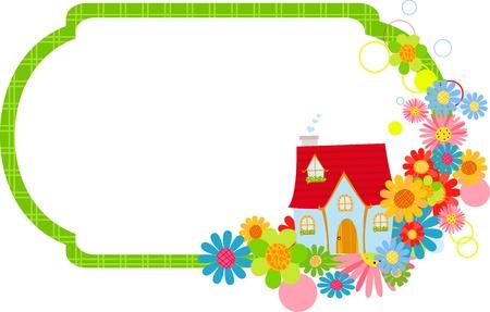 cottage garden: house and frame Illustration