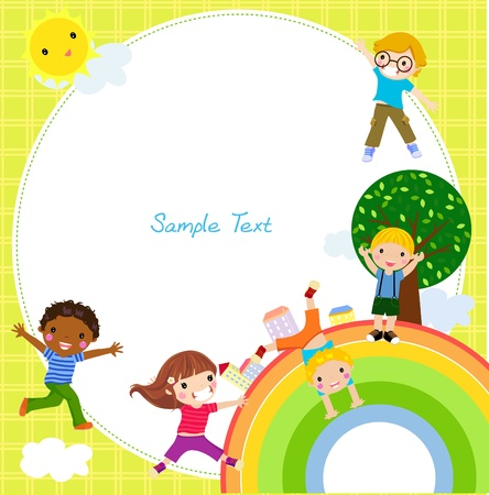kids and rainbow  Stock Vector - 18308504