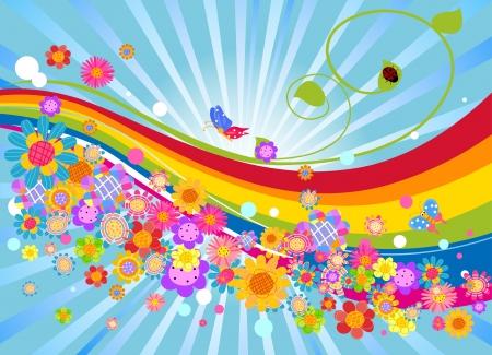 arcoiris: flores y colores del arco iris de fondo