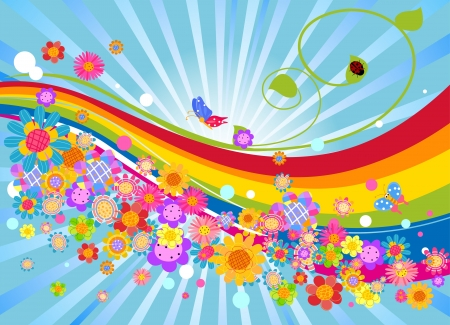 flower and rainbow colors background Illustration