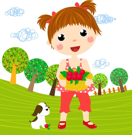 Little girl and dog  Stock Vector - 19622424
