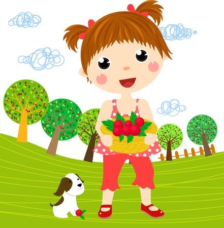 pretty little girl: Little girl and dog  Illustration
