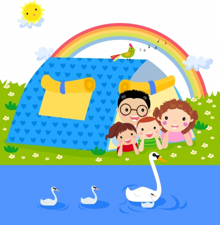happy family nature: Family camping
