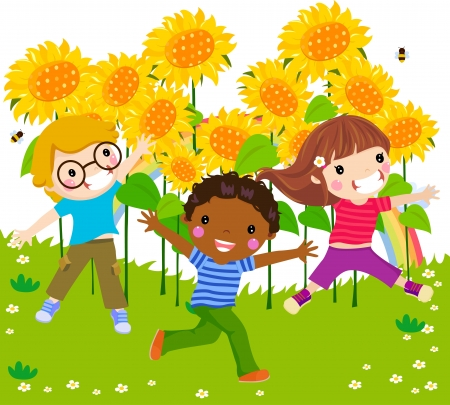 Three children jumping and sunflower Vector