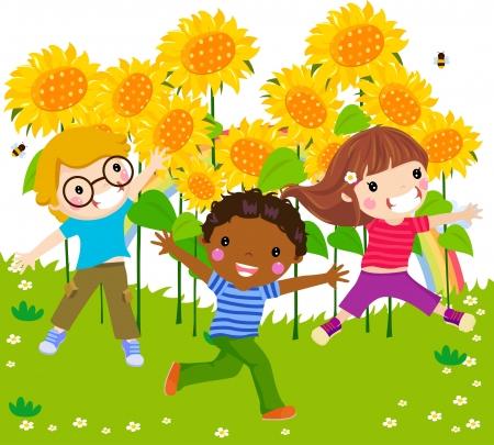 trois enfants: Trois enfants saut et de tournesol