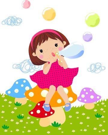 pretty little girl: A little girl blowing bubble Illustration