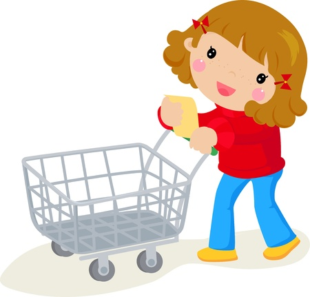 mujer en el supermercado: mujer en supermercado Vectores