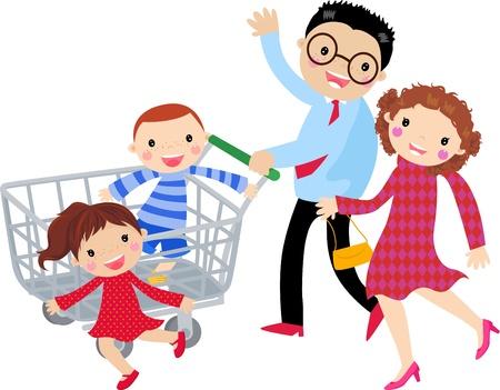 mujer en el supermercado: Familiar Vectores