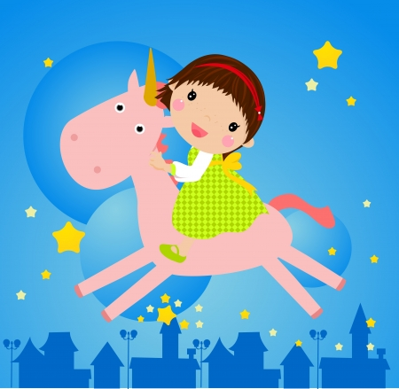 unicorn and girl  Vector