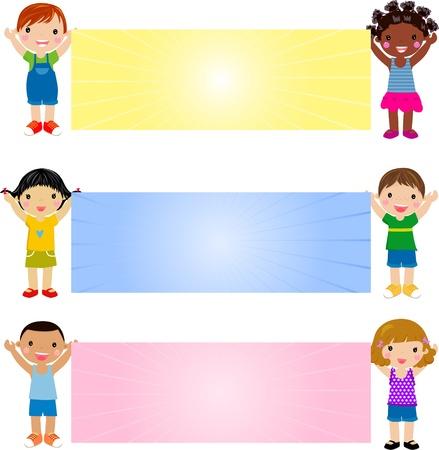 Les enfants et les banni?res Banque d'images - 20662125