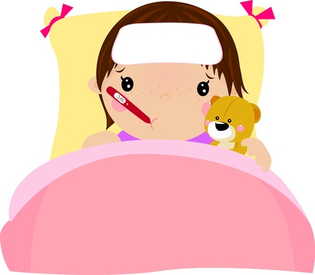 sick girl: Cartoon illustrazione ragazza paziente Vettoriali