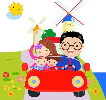 family cartoon: family travel Illustration