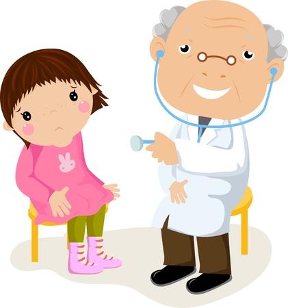 doctors and patient: La ni�a en la recepci�n en m�dico
