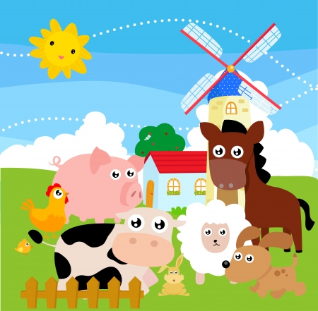 granja caricatura: animales de granja