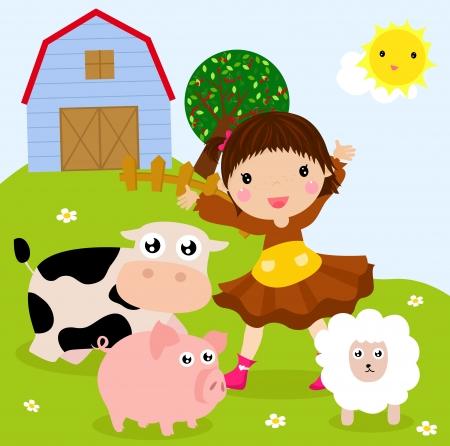 Farm girl Stock Vector - 19622433