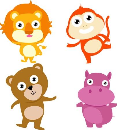 animal lion,monkey, hippo,bear Stock Vector - 15168907