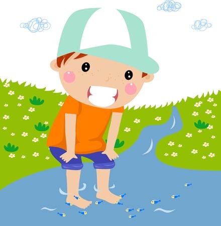 brook: cute boy on brook