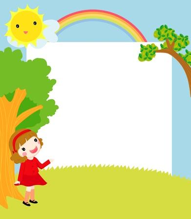niña y el marco Ilustración de vector