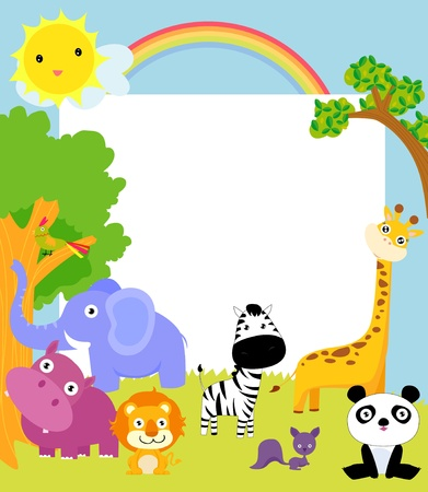 arcoiris caricatura: animal lindo y marco Vectores
