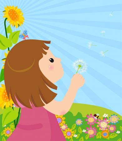 blowing dandelion: ragazza che soffia dandelion Vettoriali