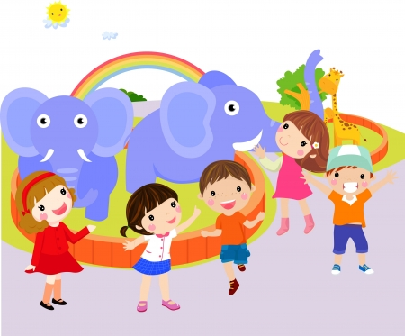family trip: Kids at the Zoo Illustration