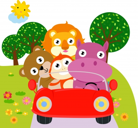 hipopotamo caricatura: animales coche Vectores
