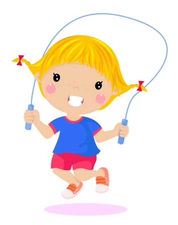 caricature woman: Happy girl jumping  Illustration