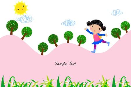 jovial: cute girl running