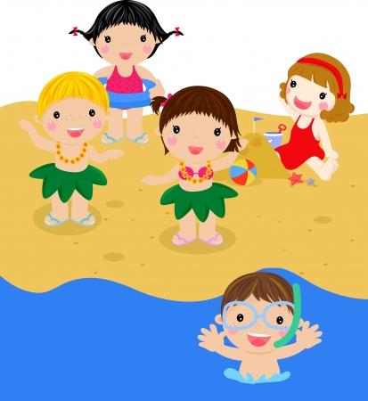 beach ball girl: kids on beach  Illustration