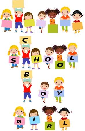 school days: Cheerful happy cute children holding banner
