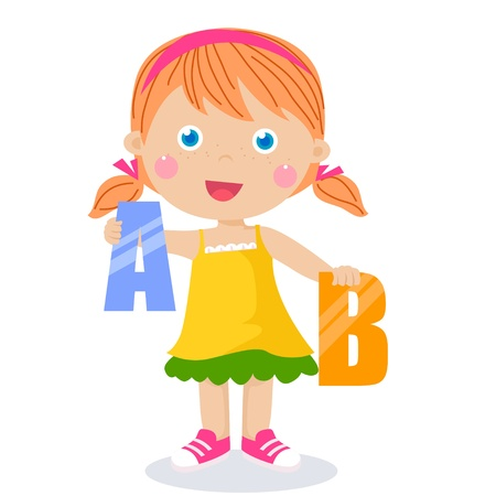 A,B held by cute kids  Vector