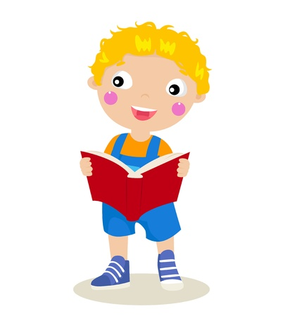 Vector illustration of an isolated child reading a book Vector