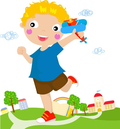 Little Boy Playing With Airplane  Vector