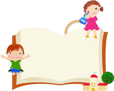 kids reading book: kids and frame
