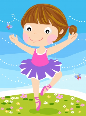 sweet grass: Cute small ballerina  Vector illustration