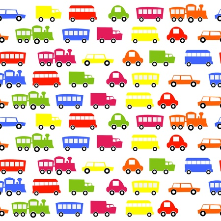 seamless car on wheels pattern in vector  向量圖像
