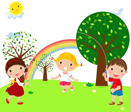 trois enfants: des enfants qui jouent Illustration