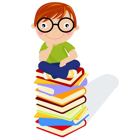 little boy and book Vector
