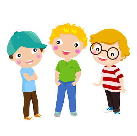 three children: Three happy kids standing  Illustration