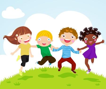 familia asiatica: Felices los ni�os saltando