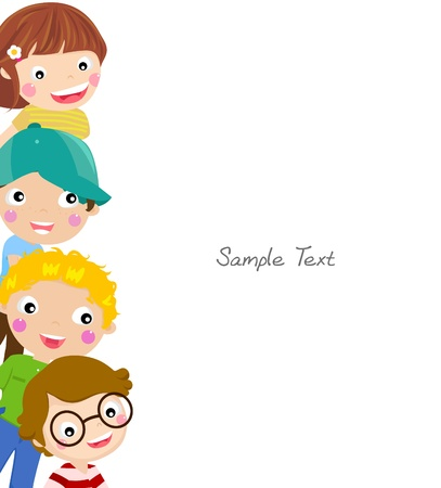 enfants: Cute cartoon enfants ch�ssis Illustration