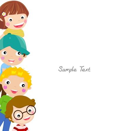 ni�os en la escuela: Marco lindo ni�os de dibujos animados Vectores