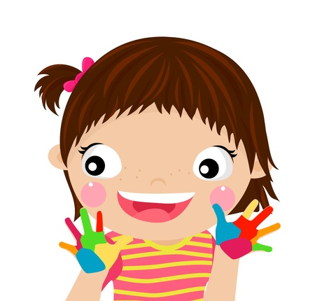 children playing with paints  Stock Vector - 15301254