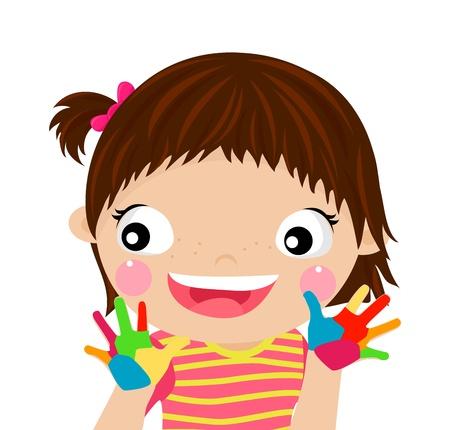 nenes jugando: los ni�os que juegan con las pinturas Vectores