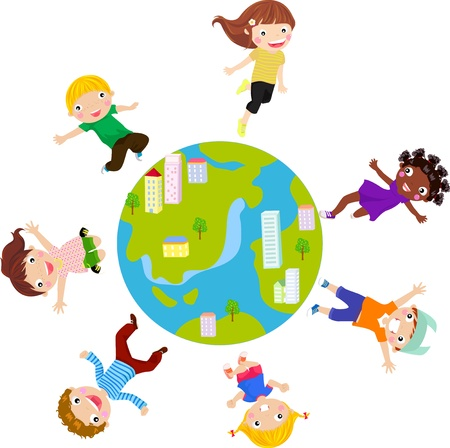 kids and globe Vector