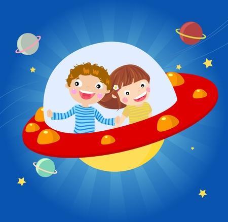 platillo volador: Ilustración de los niños que actúan una Flying Saucer