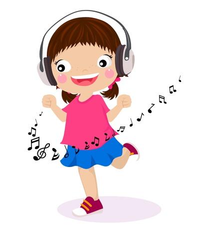 music listening: Dancing girl listen music in headphones  Illustration